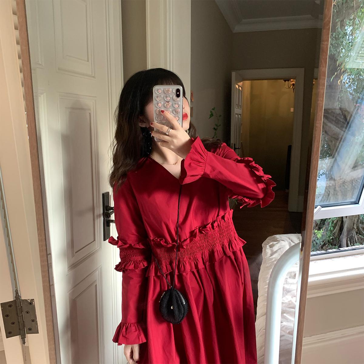 浪漫指蓝荷叶边修身2020新款连衣裙