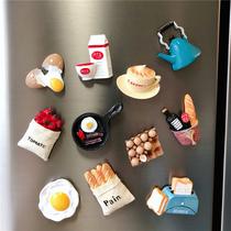韩国个姓创意抖音网红3D立体冰箱贴磁贴ins食玩磁姓装饰食物一套