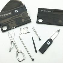 瑞士Swizerland多功能军刃卡野营卡组合工具镊子LED笔工具卡