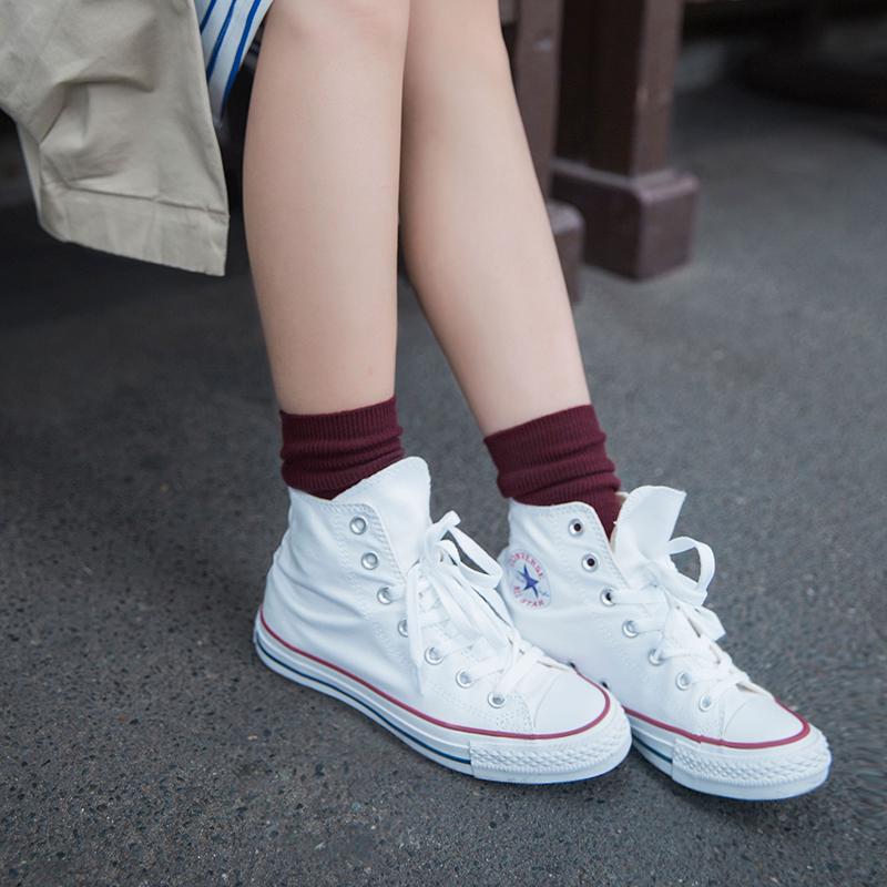 热销56件假一赔三靴下物春秋款纯色袜子女百搭中筒袜