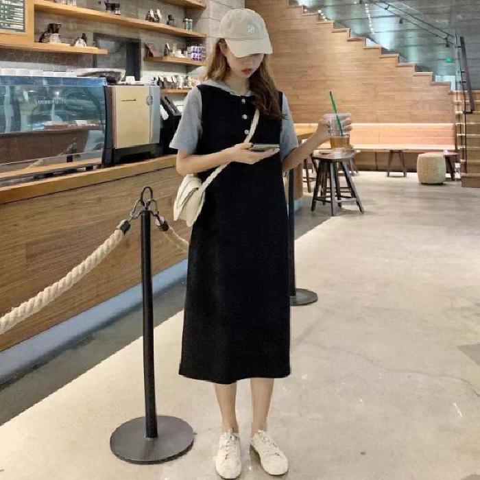 2021新款韩版宽松夏装懒人穿搭连衣裙长裙