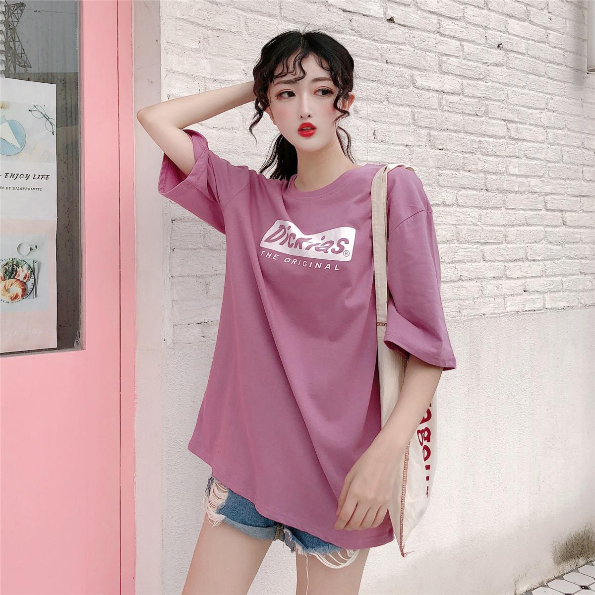 实拍 2021夏季新款短袖t恤韩版宽松型上衣
