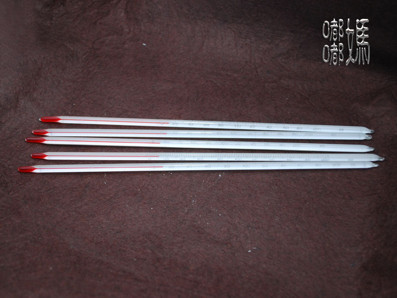 【 длинный фасон 】Термометр 2 палочки 0-200 ° C красный Жидкость 300 мм ручная работа Инструмент для мыла