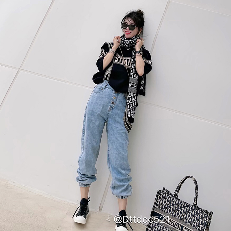 Xinbang Europe station early spring 2021 new deston EURONET red front button loose band strap jeans for women