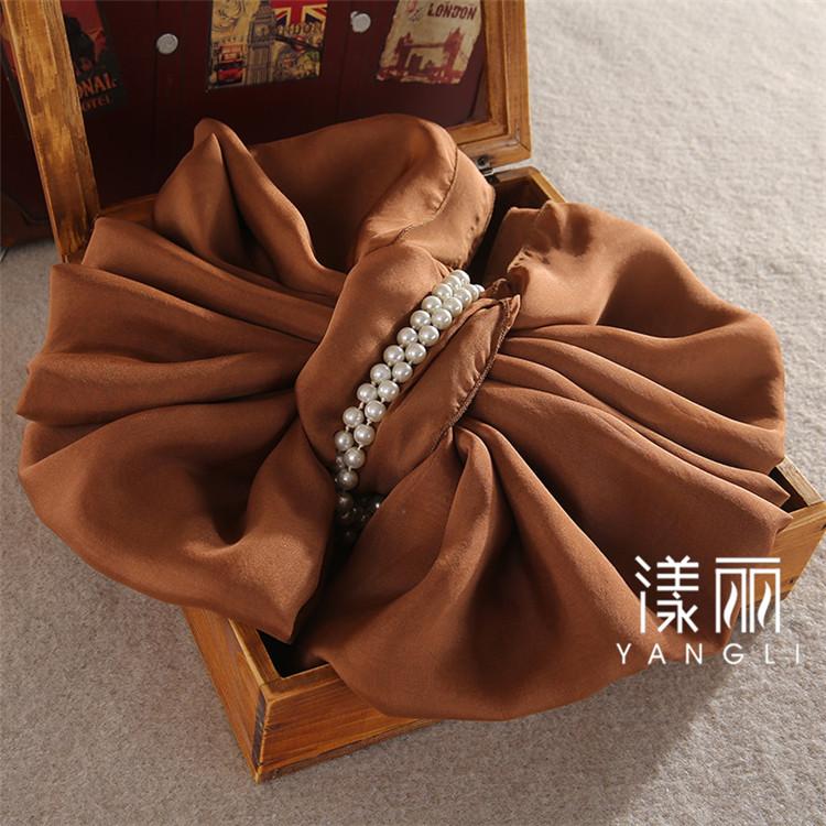 焦糖色真丝丝巾围巾披肩100%桑蚕丝大尺寸披肩特价女长方形丝巾