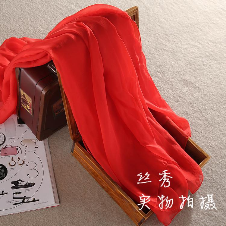 洋气红色丝巾纯真丝桑蚕丝围巾披肩长方形女士纱巾夏季遮阳沙滩巾