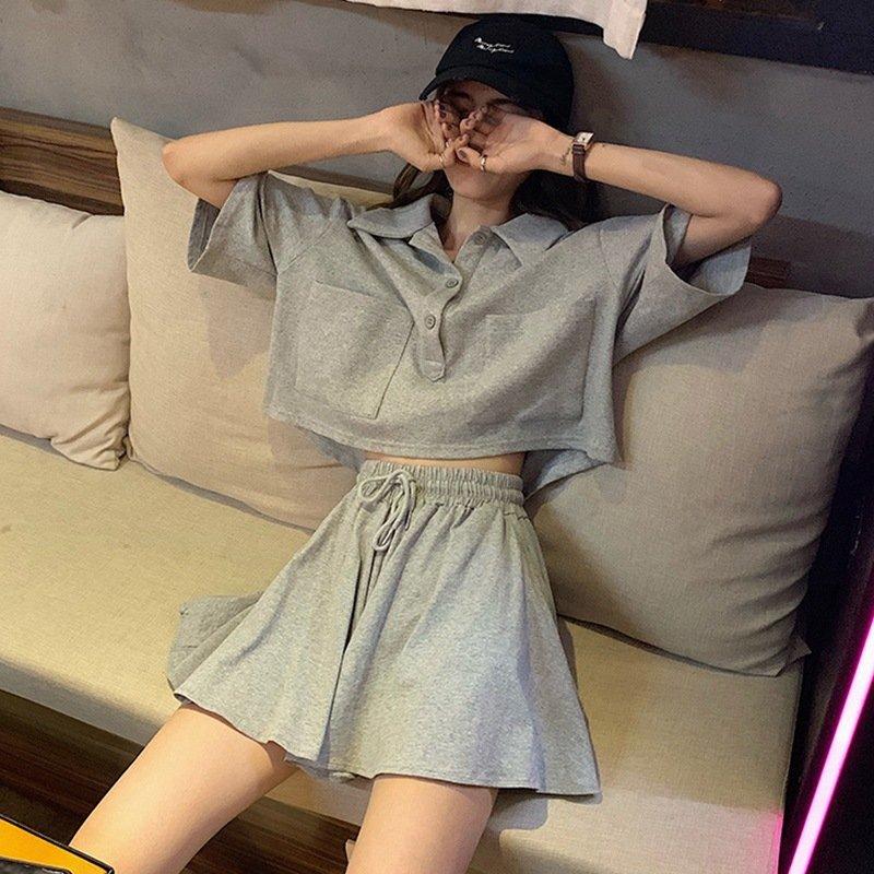 2021夏季新款韩版宽松学生套装女短袖T恤纯色套装裙ins潮短裙