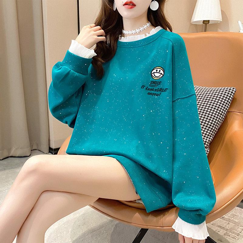 2020烫钻拼色花边套头薄款卫衣女装秋装2020新款韩版