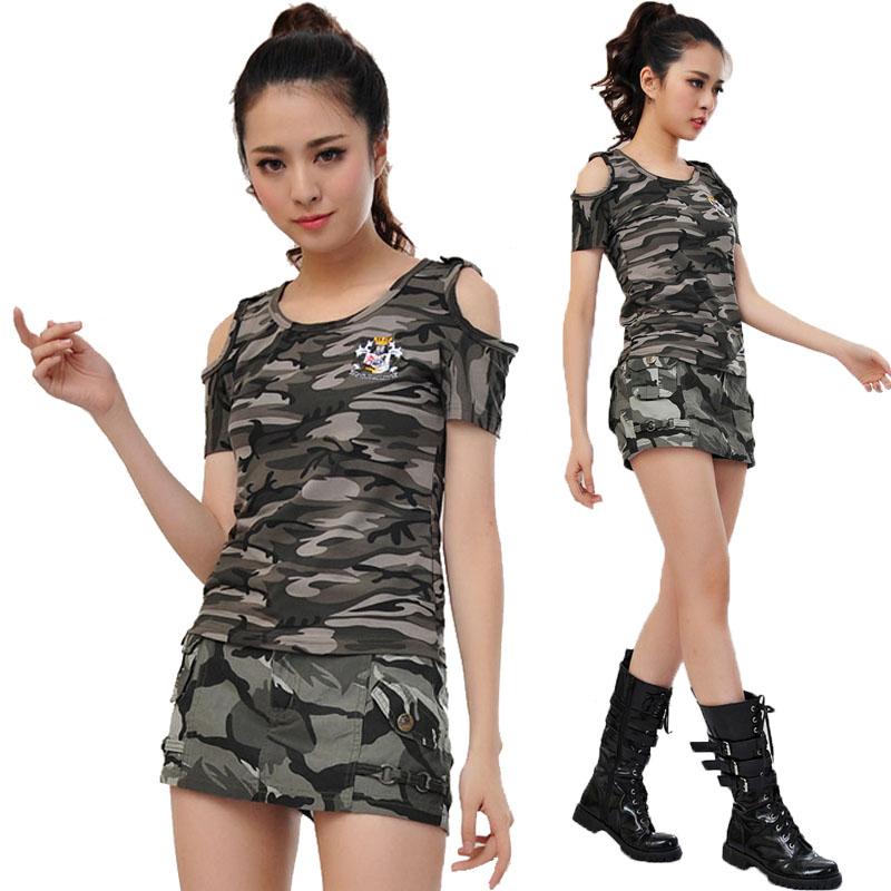 2021新款夏装新款迷彩套装女装军装迷彩套服迷彩服迷彩装906+9106
