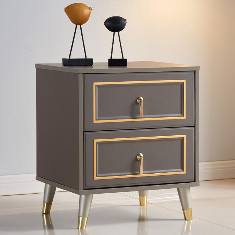 北欧床头柜轻奢灰储物柜简约现代个性创意收纳柜金属边卧室小柜子