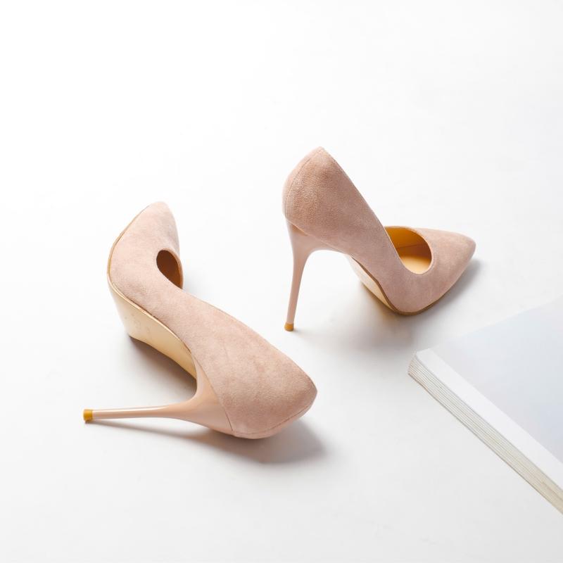 浅口高跟鞋女细跟2019新款尖头韩版百搭裸色小清新少女婚鞋单鞋子