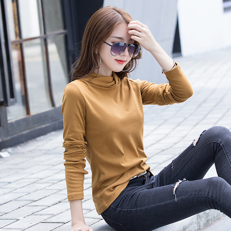 Autumn and winter half high collar large womens wear long sleeve pure cotton short solid color versatile T-shirt with bottom, blood shows thin