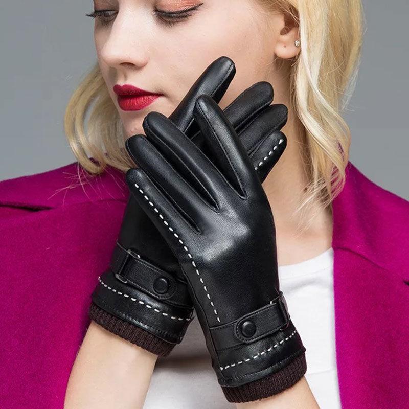 皮手套女骑行加绒加厚保暖手套女冬季学生韩版骑车防水触屏棉手套