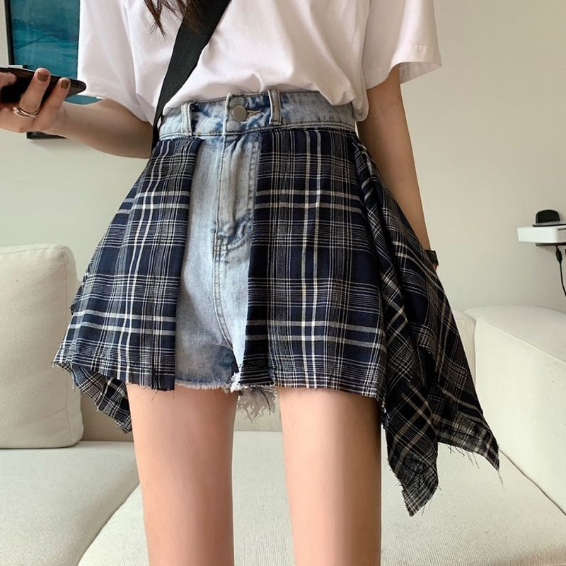 Summer 2020 New Retro Plaid high waist jeans womens summer loose straight leg wide leg pants pants pants