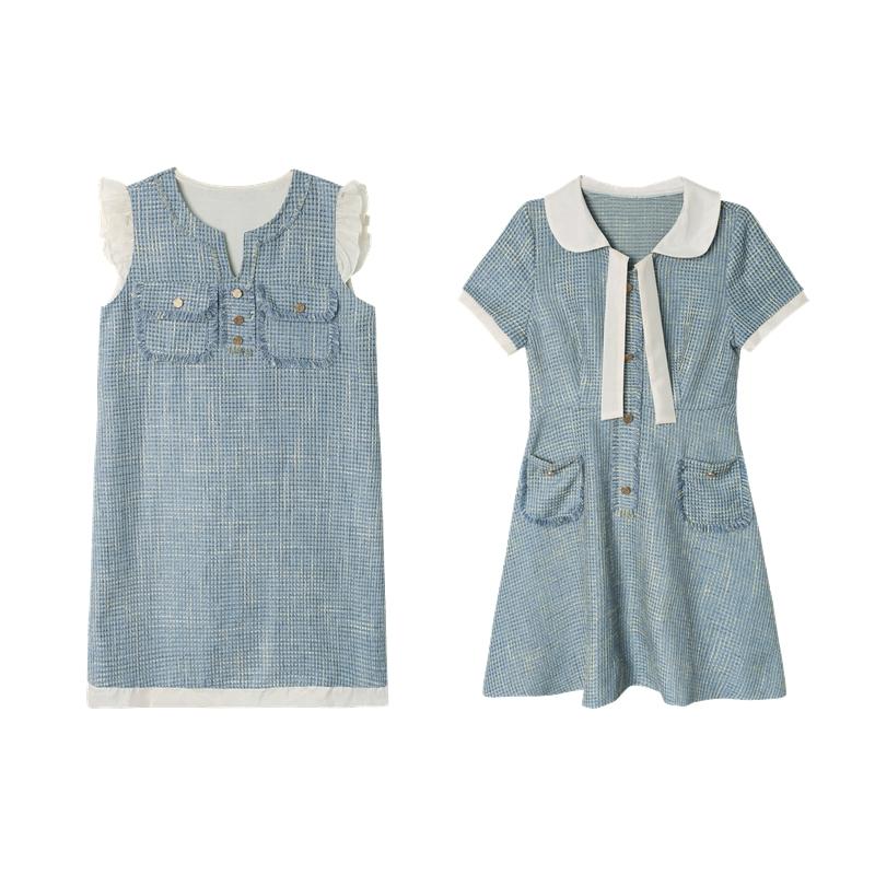 裙子女2019新款夏装姐妹装法式复古蓝色小清新娃娃领连衣裙闺蜜装