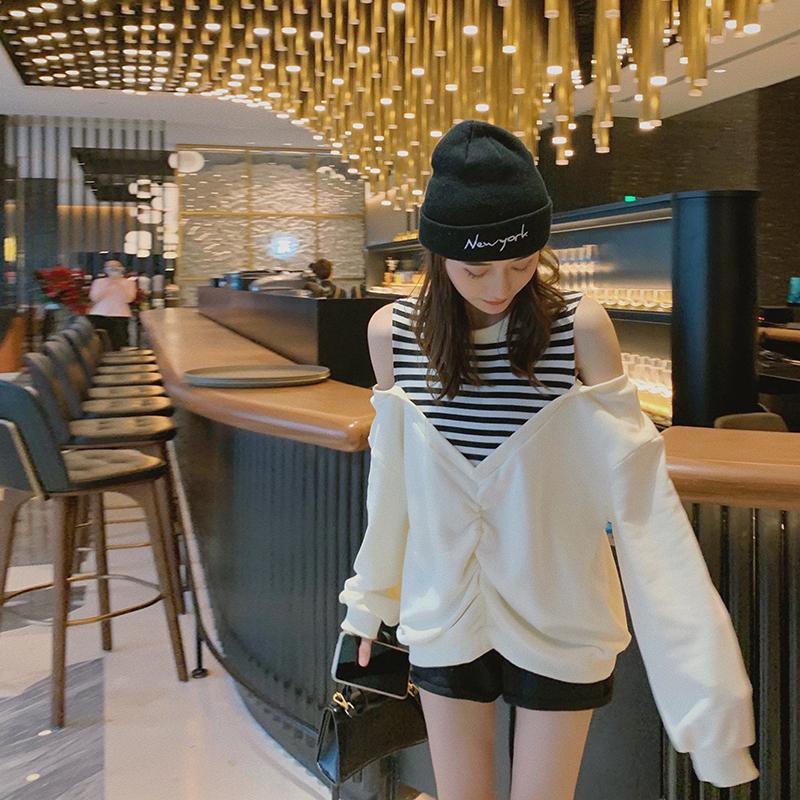 白色露肩条纹拼接长袖卫衣女2020年夏季新款薄款韩版宽松百搭上衣