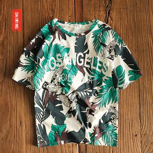欧美街头潮牌印花T恤男半袖个性潮流沙滩海边短袖嘻哈风原宿港风