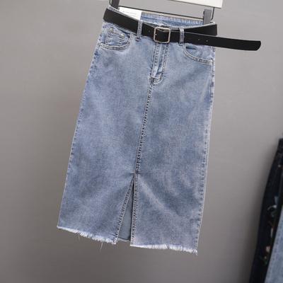 高腰弹力牛仔裙中长款女夏季薄2019新款毛边前开叉包臀A字半身裙