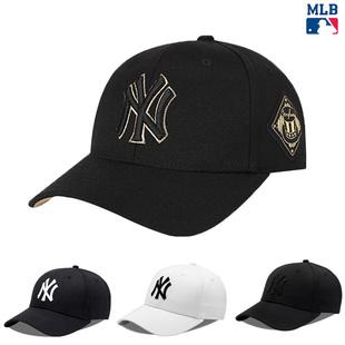 NY鸭舌帽黑色金标硬顶mbl帽子nlb男潮ins韩洋基队MLB棒球帽女防晒