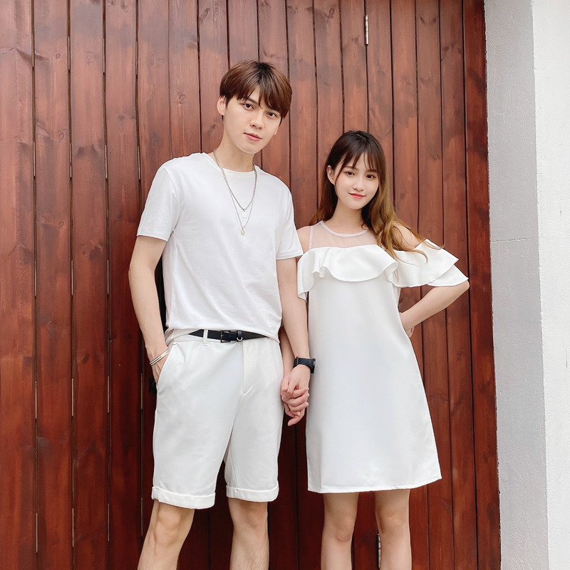 Love lovers summer dress ins super fire short sleeve new dress Korean loose design lovers