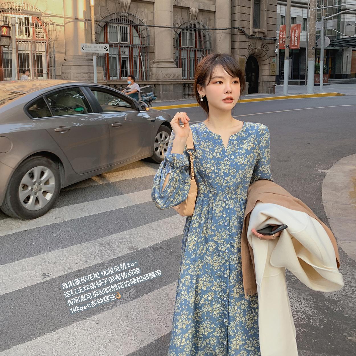 花栗鼠小姐 V领碎花裙秋季2020年新款女显瘦复古中长款连衣裙