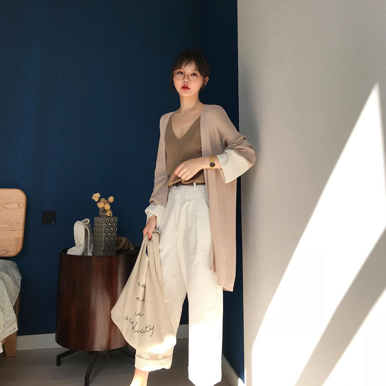 花栗鼠小姐 2018夏秋新品 拼色亚麻针织开衫空调衫