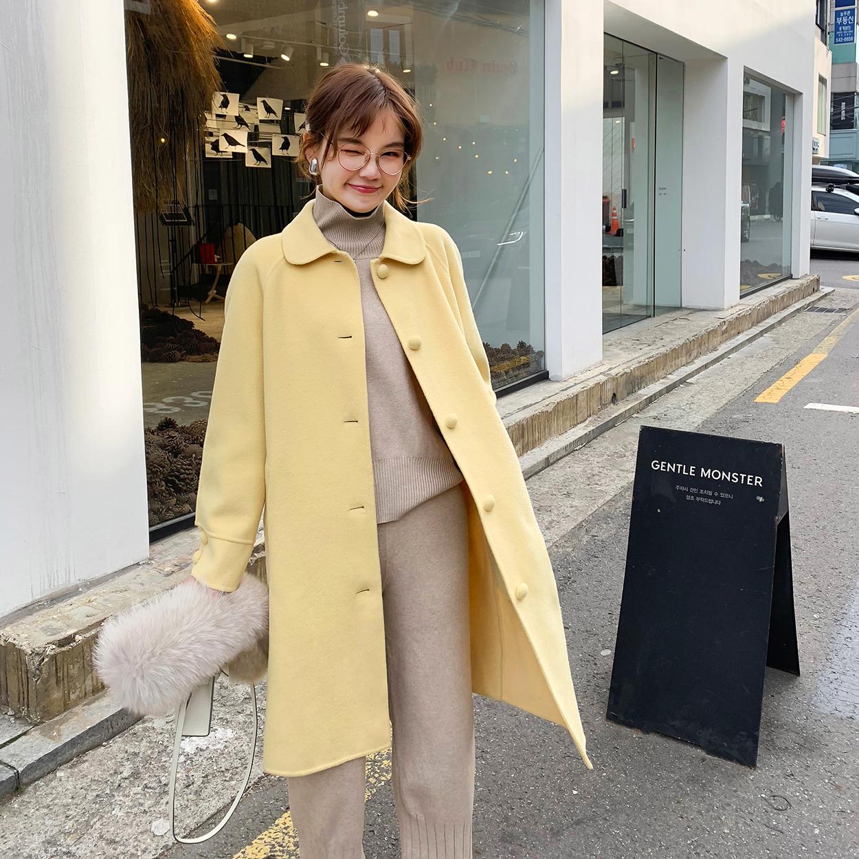 花栗鼠小姐 蘑菇扣大衣 娃娃领长款高密度双面呢外套