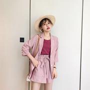 花栗鼠小姐 短袖防晒小西装外套女夏天2019新款薄款短裤套装宽松