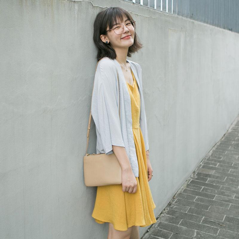花栗鼠小姐 chic防晒开衫女夏季短款吊带裙外搭薄外套和服空调衫