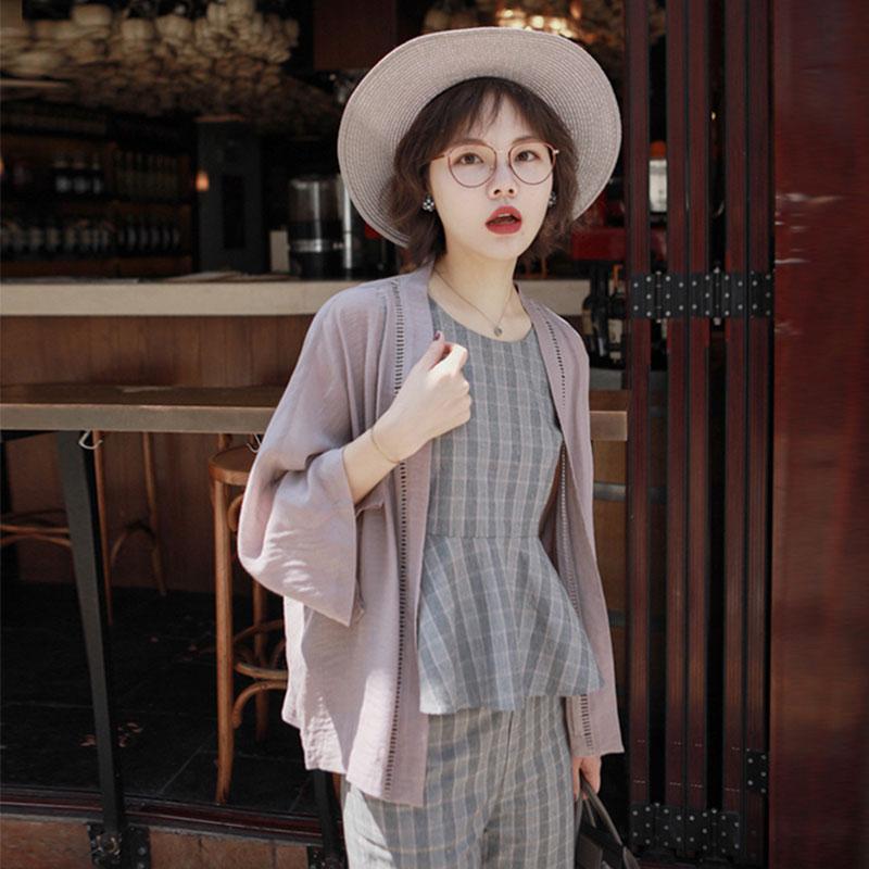 花栗鼠小姐 防晒衣女夏季和服雪纺开衫中长款外搭薄款外套空调衫