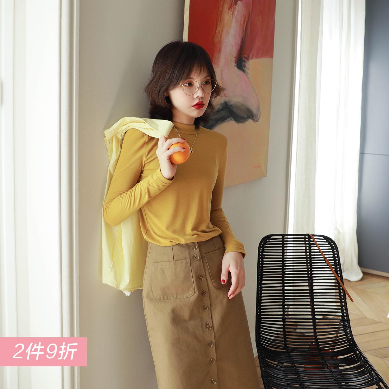 花栗鼠小姐 秋季女装2018新款百搭简约上衣小高领纯色长袖打底衫
