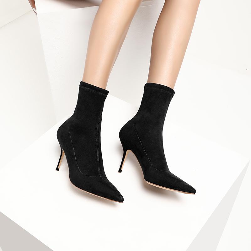 新款尖头细跟春秋百搭手工女靴2020瘦瘦短靴弹力靴子真皮底RAIZO