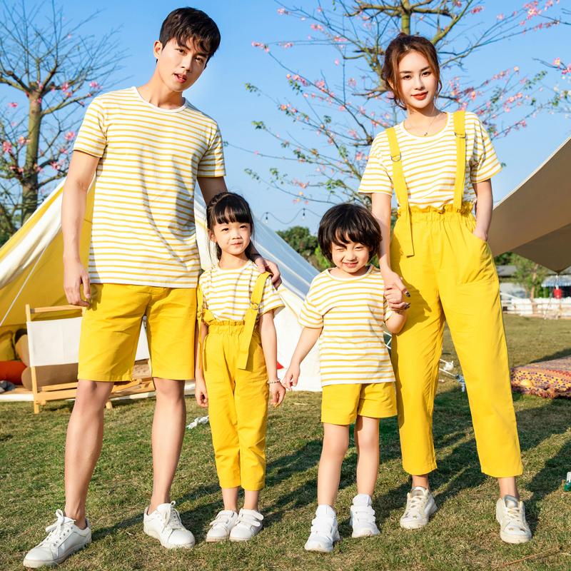 亲子装夏季新款2020年母女装韩版情侣装父子一家三口四口家庭套装
