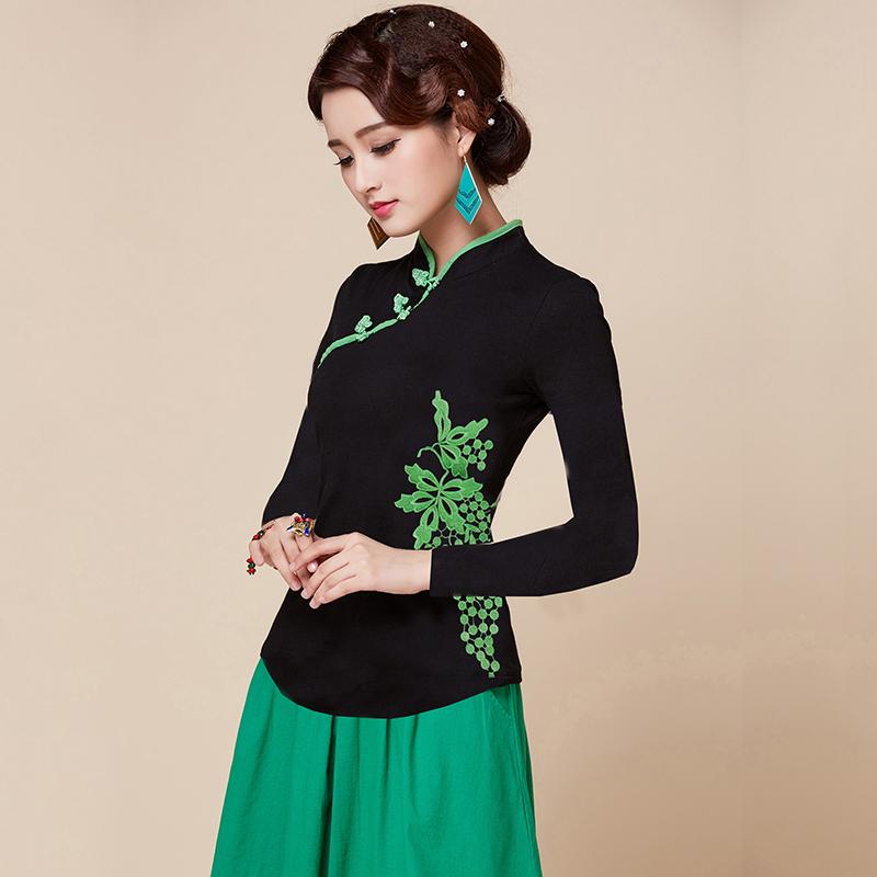 中国民族风女装秋冬季刺绣花上衣2018新款小衫长袖立领打底T恤衫