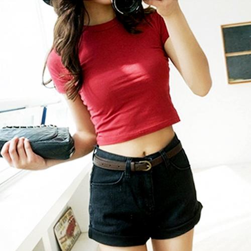 纯棉露脐上衣短袖t恤女夏 短款高腰紧身漏脐短装韩国学生露肚脐装