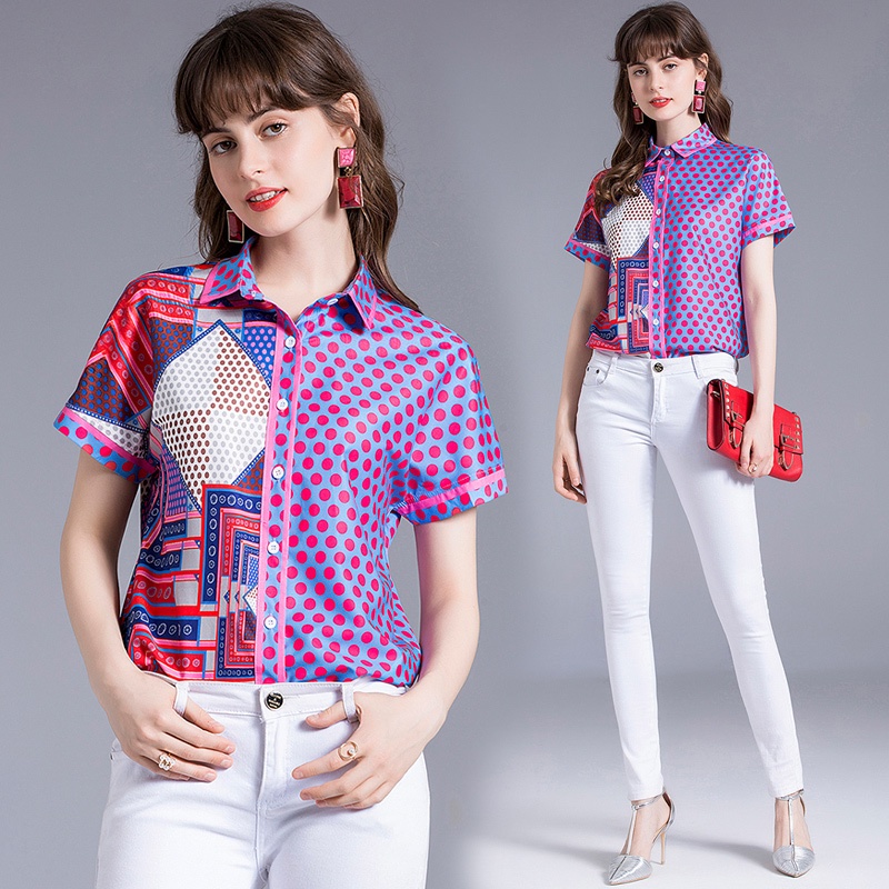 Europe station summer new trend polo collar single breasted AB pattern color matching temperament short sleeve versatile shirt