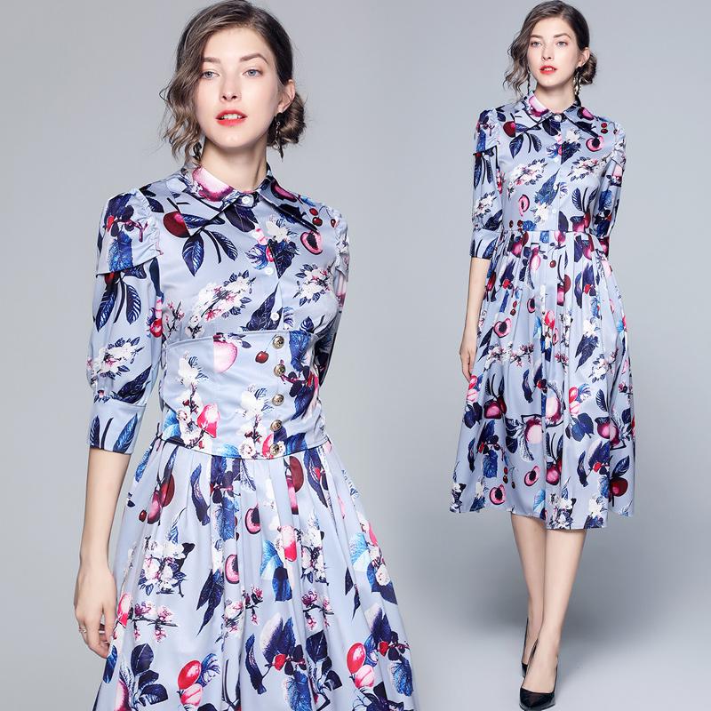 878 spot shot twill print dress autumn new Bohemian long dress with waist closing and thin shirt skirt