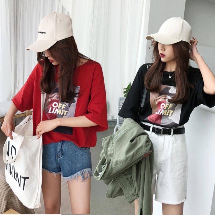 2018夏季新品大码女装胖mm最爱半袖体恤宽松纯棉印花短袖圆领t恤