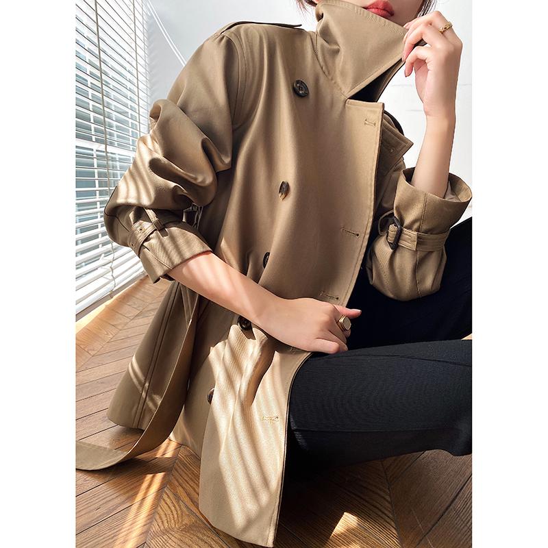 赫本风短款风衣女小个子2020新款韩版宽松英伦风气质垂感春秋外套