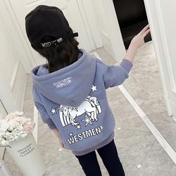 女童加绒连帽卫衣2020秋冬装新款儿童韩版时尚中大童外套宽松上衣