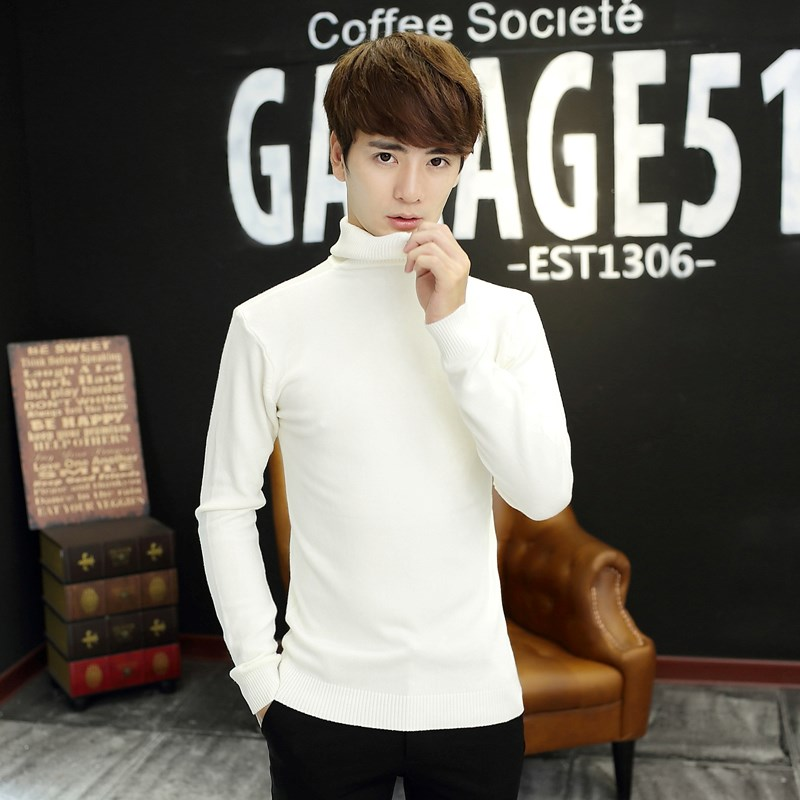 South Korean girdle, youth tight high neck sweater, fashionable mens slim fall suit, pullover, long neck sweater
