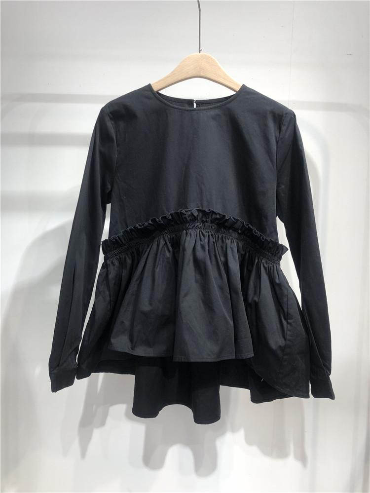 出口日本单 黑色娃娃服圆领套头衬衫
