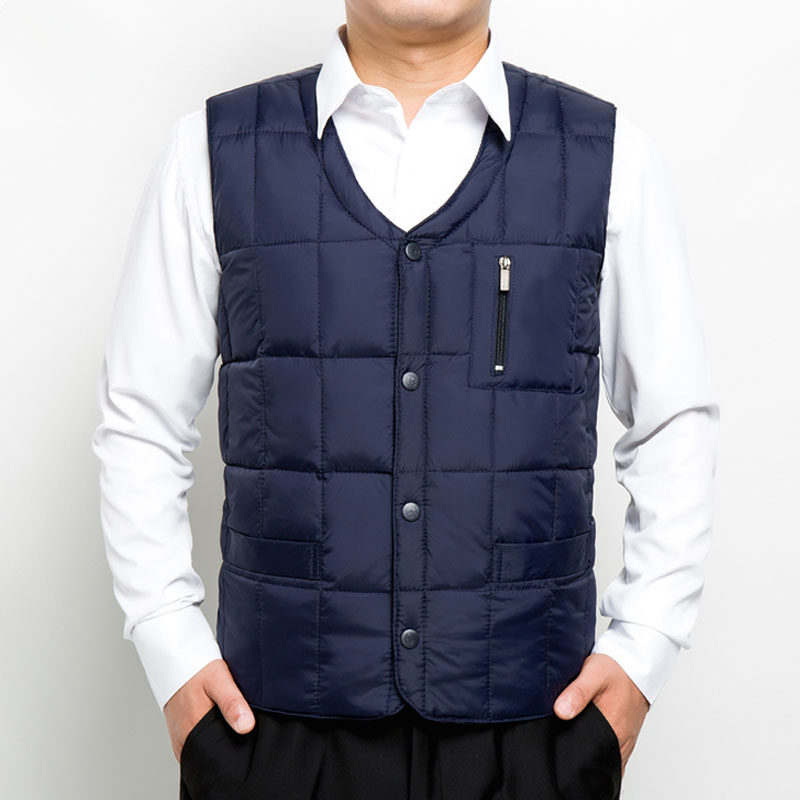 Mens down vest in autumn and winter is light and warm, middle-aged and elderly dads inner tank vest, waistcoat and vest