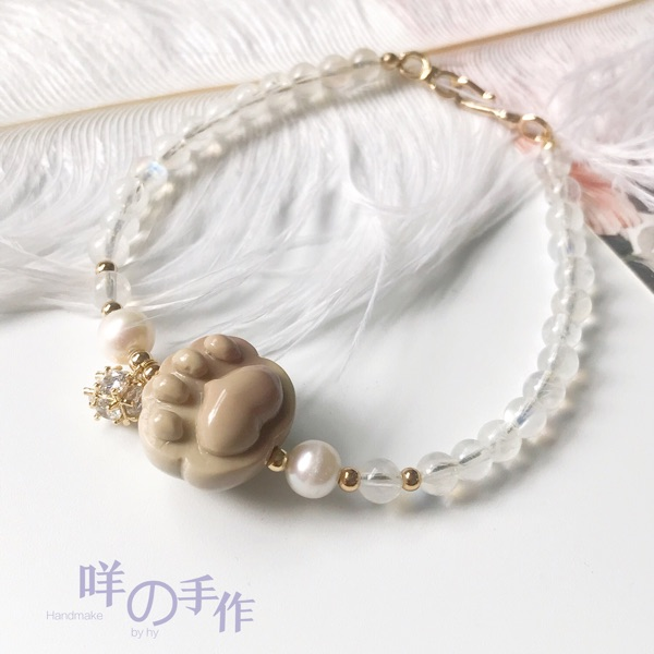 Baas hand made Alashan colored jade cats paw meat pad sprouted carved glass Moonstone pearl wrapped Gold Bracelet