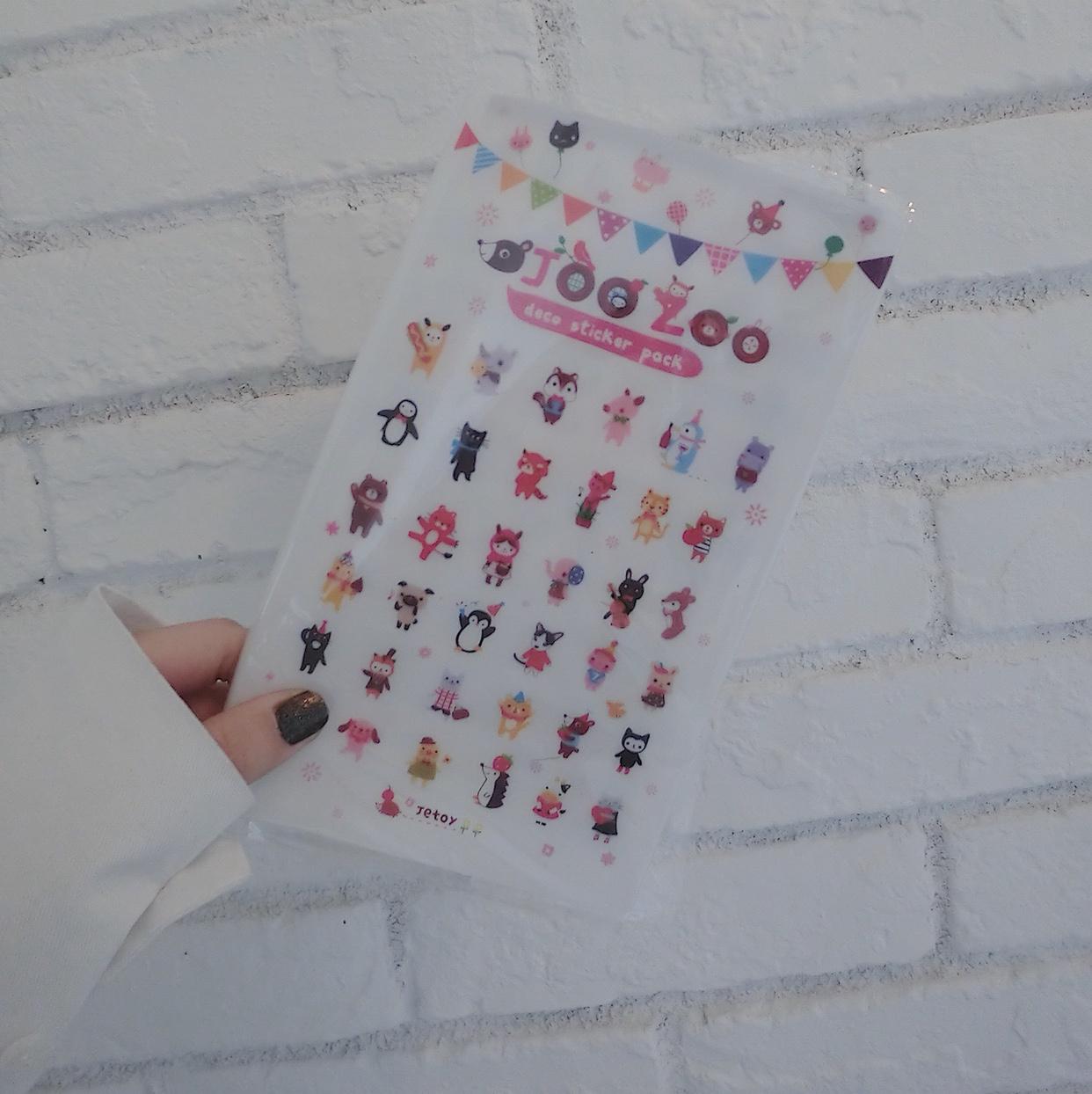 韩国文具JOOZOO手帐本日记本小贴纸收纳册 资料册卡通贴纸卡片