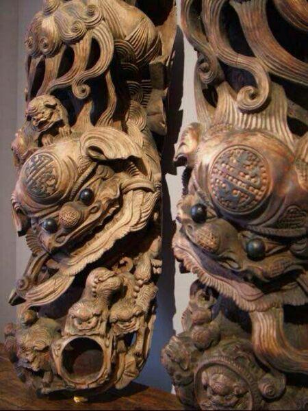 Эмблема государственный резьба по дереву китайский стиль сад лес храм инжиниринг здание украшение корова нога птица для дерево резьба