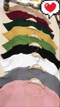 2017春夏新款修身显廋针织韩版女装百搭坑条织条纹针织短袖上衣