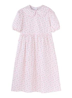 [现货]YUKIXIAOSHU自制粉色碎花收腰宽松显瘦长裙连衣裙韩代夏季