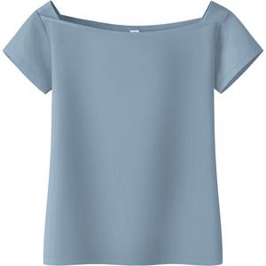 设计感纯棉一字肩女夏短袖百搭t恤