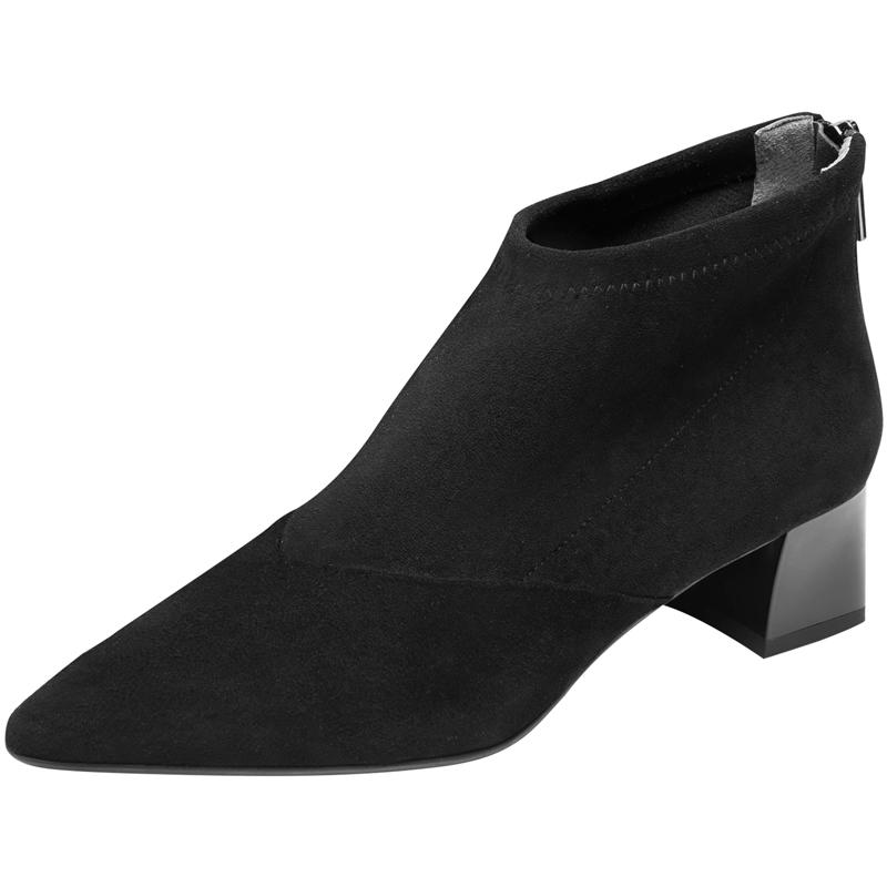 莱尔斯丹新款真皮尖头粗跟黑色短靴质量怎么样